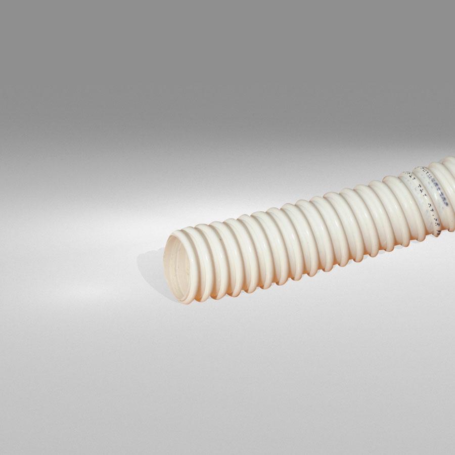 """Λευκός εύκαμπτος ελικοειδής σωλήνας PVC Φ37/32 , για σιφώνι τύπου """"S"""""""